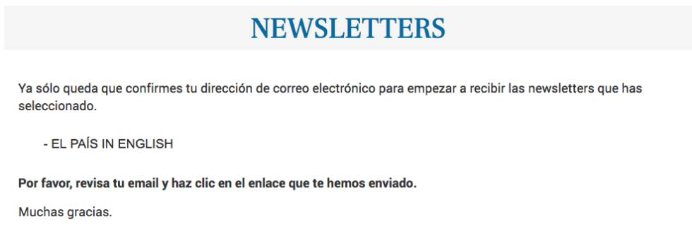 Sign up to the EL PAÍS English Edition newsletter