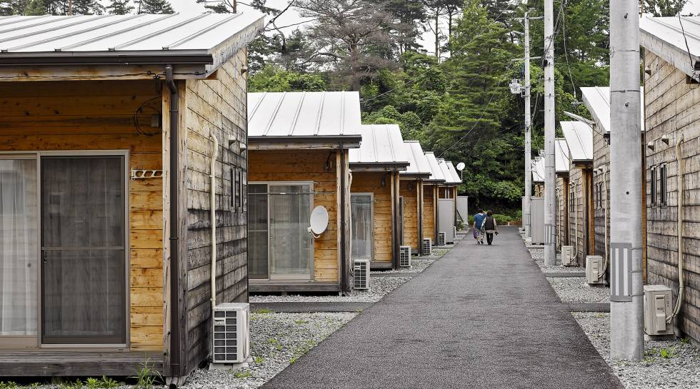 A colony of Portacabins in Koriyama, where residents of the Futaba district have taken refuge since the tsunami. They either lost their homes or were evacuated due to radiation risks.