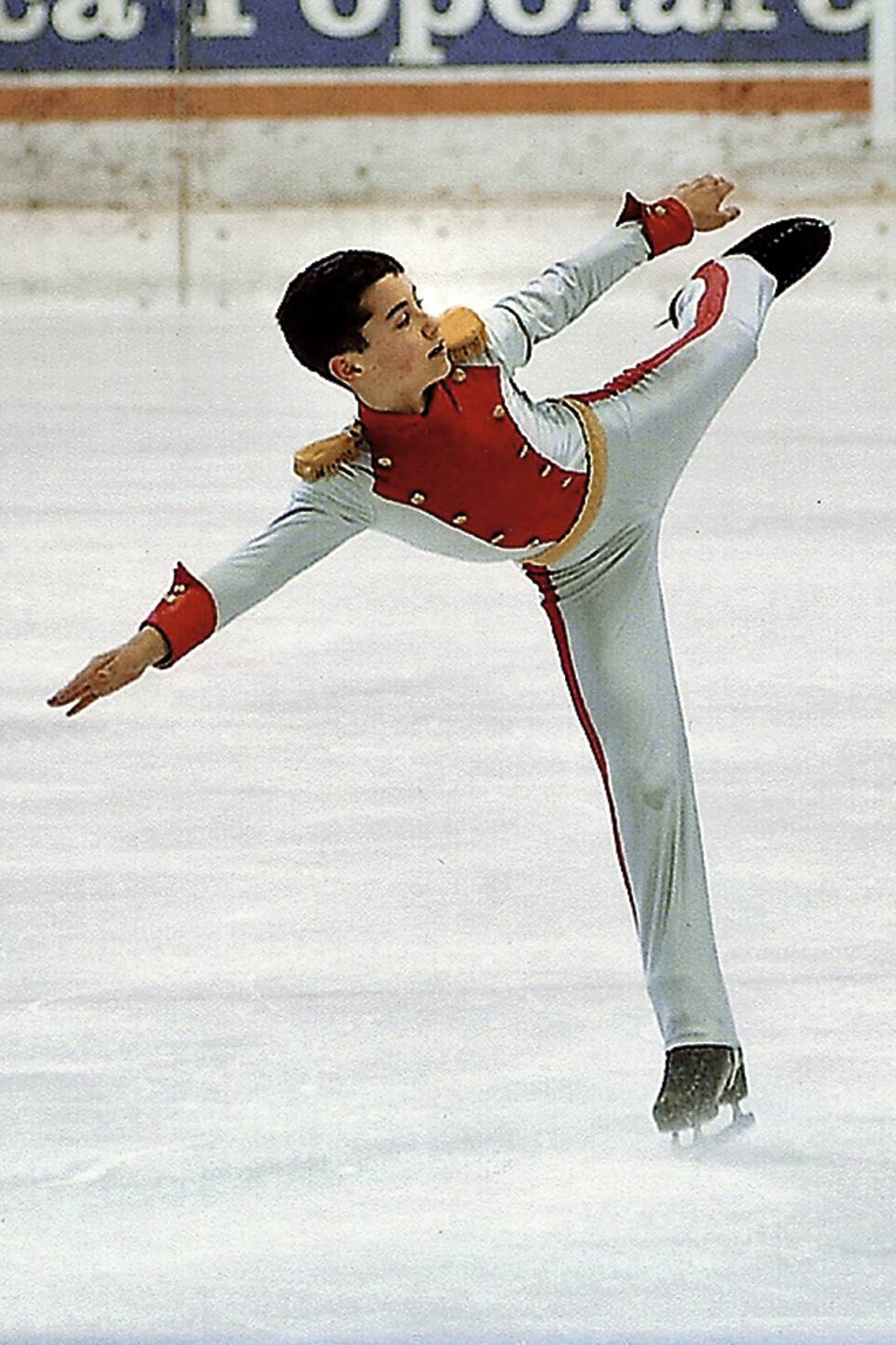 Javier as a 13-year-old on ice.
