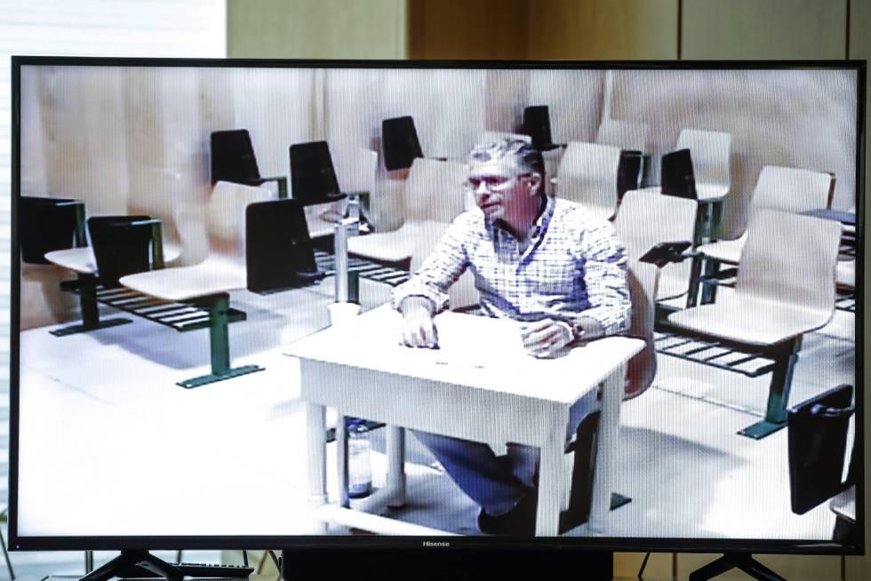 Francisco Granados, durante su comparecencia por videoconferencia desde la cárcel de Estremera, en la comisión de investigación de corrupción en la Asamblea de Madrid.