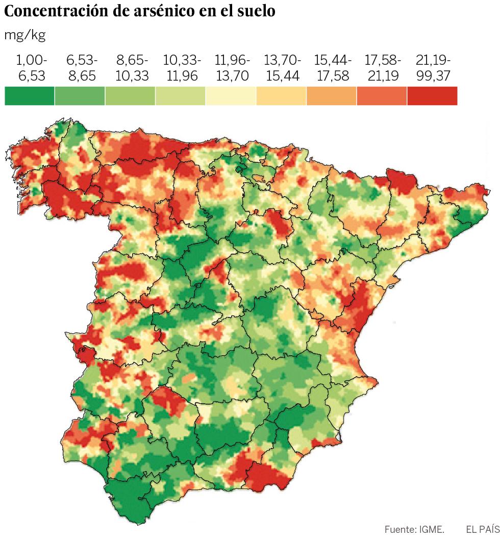 Cáncer: mapa del arsénico en España