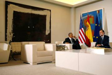Obama and Rajoy at La Moncloa.
