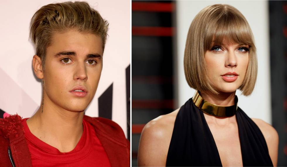Os cantores Justin Bieber e Taylor Swift.
