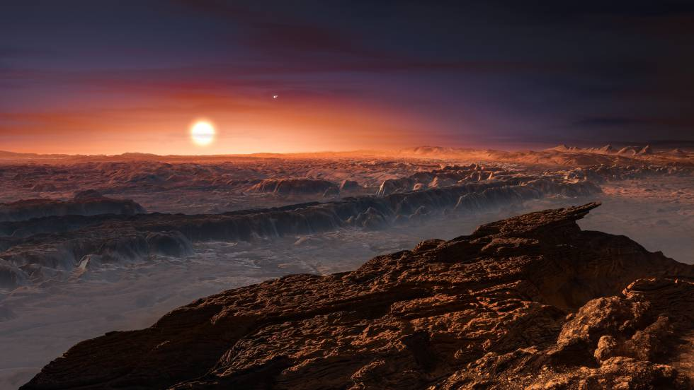 Representação artística do planeta Próxima b.