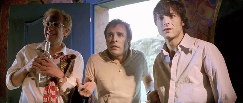 Karra Elejalde, Fernando Guillén Cuervo e Alberto San Juan em 'Airbag – Uma Viagem de Loucura' (1997), aprendendo a ser maduros, pois já têm idade para isso.