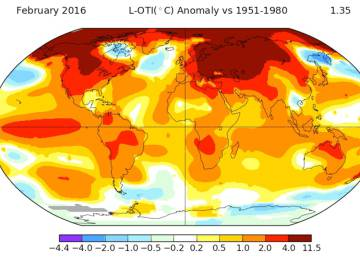 La temperatura media global marca un récord en febrero