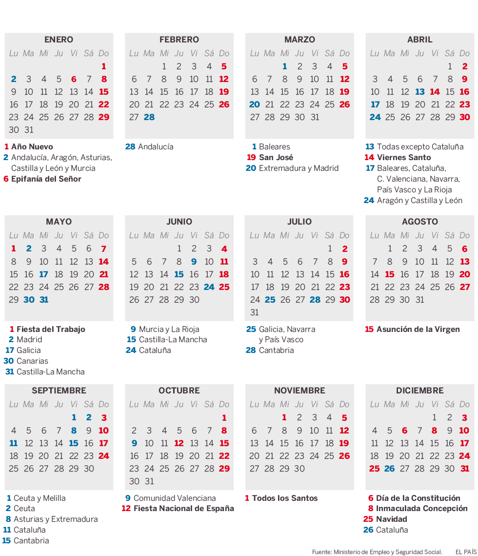 Calendario laboral para 2017 actualidad el pa s for Calendario eventos madrid