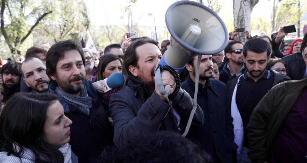 Pablo Iglesias, en una concentración de Podemos