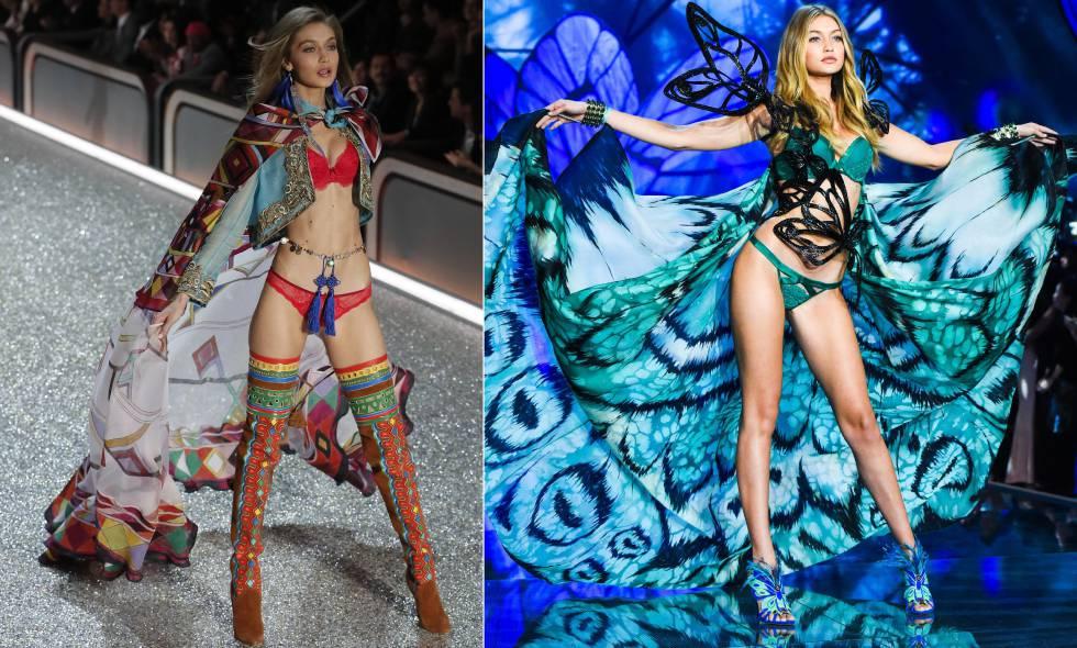 Gigi Hadid, en el desfile de Victoria's Secret la semana pasada en París y, a la derecha, en el mismo desfile en 2015.