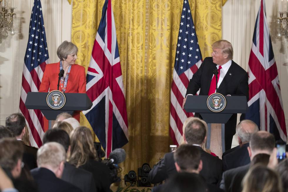 Theresa May y Donald Trump en su comparecencia conjunta del 27 de enero.