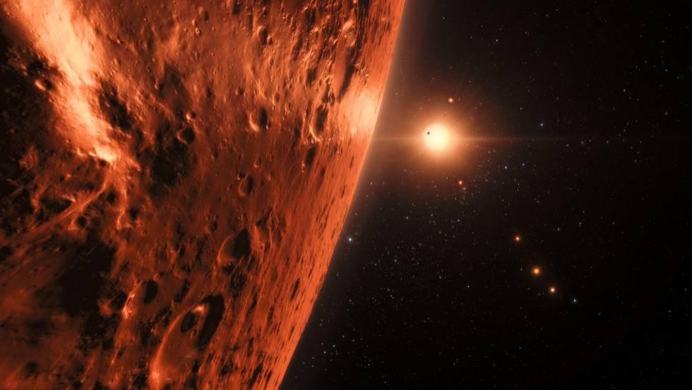 Vista justo acima da superfície de um dos planetas no sistema Trappist-1
