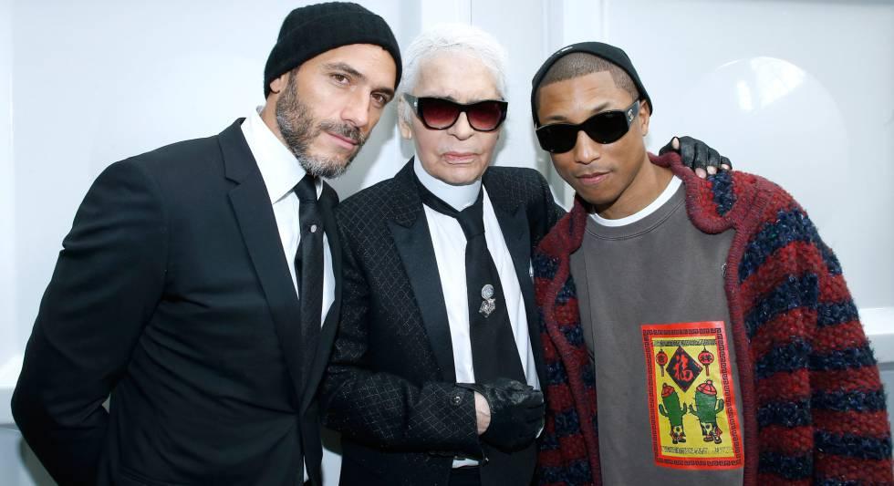 70d686e98 Sebastien Jondeau, Stylist Karl Lagerfeld y Pharrell Williams, en el  desfile de Chanel.