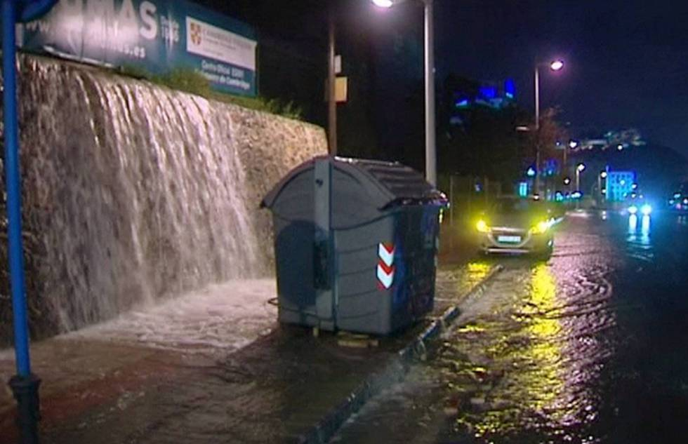 Water pouring into a street in Alicante during a recent deluge.