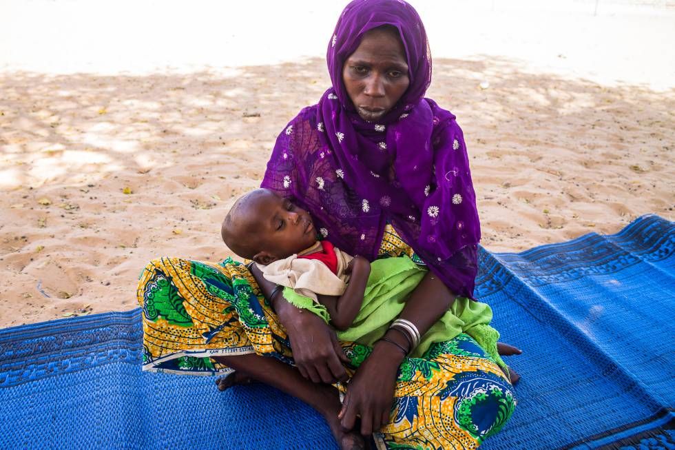 Una mujer ingresada con su hijo en la unidad de desnutrición de Liwa (Chad).