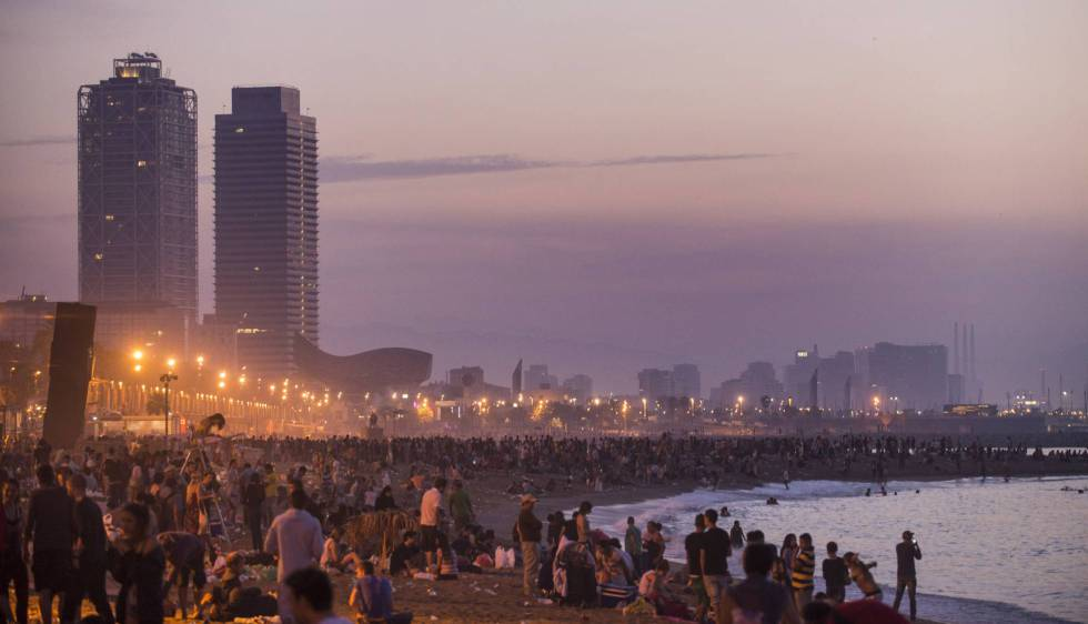 A midsummer party on the city's Barceloneta beach.