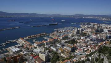 A view of the port of Gibraltar.