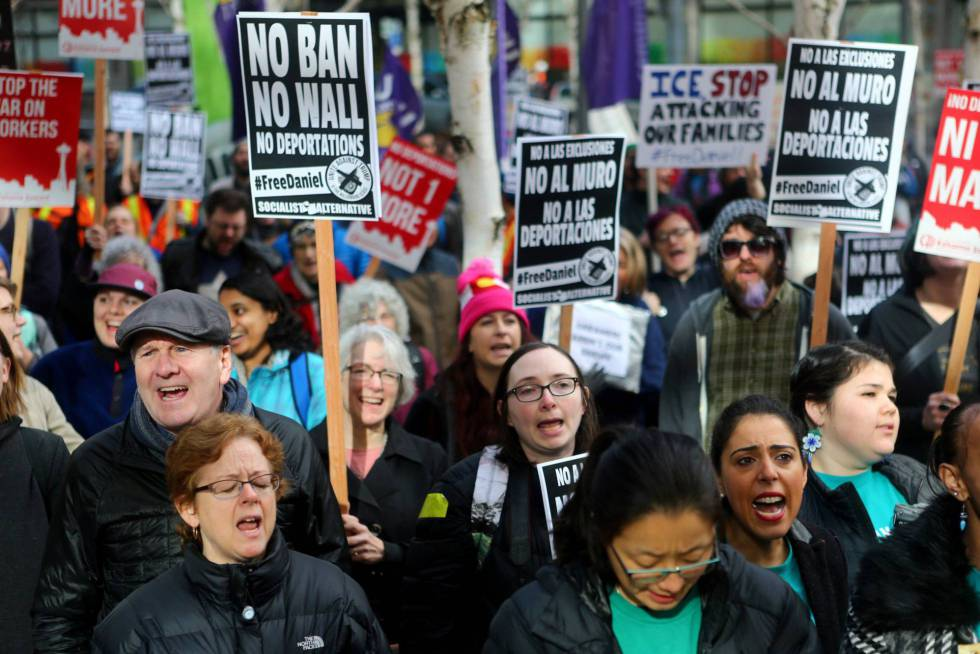 An anti-deportation march in Seattle on February 17.