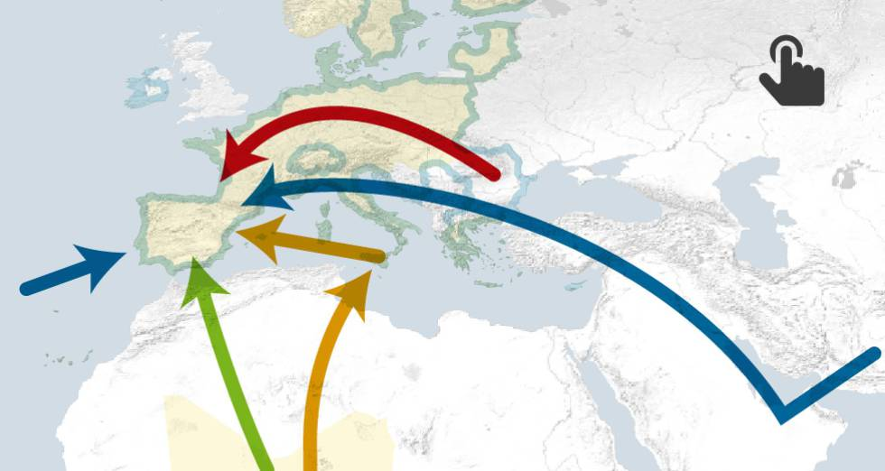 Slavery routes into Spain.