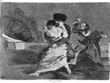 Entre los grabados de la serie 'Los Desastres de la Guerra', el aguafuerte titulado 'No quieren', de Goya.