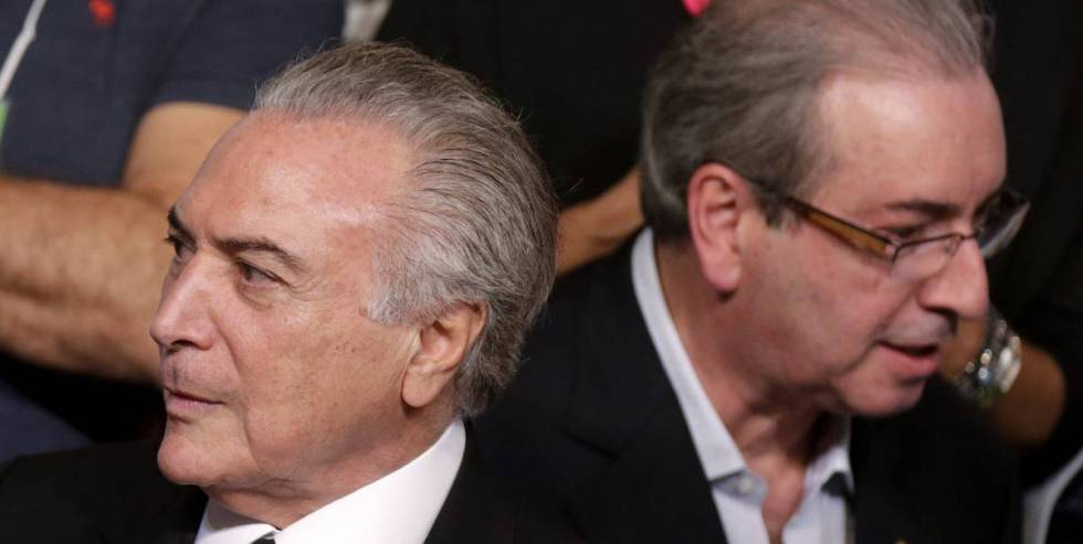 Michel Temer (left) and Eduardo Cunha in March.
