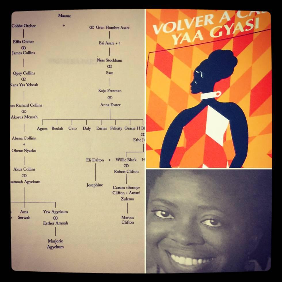 El árbol genealógico de las hijas de Maame en Ghana (África) a través de tres siglos. Portada de la novela 'Volver a casa' y foto de la autora.