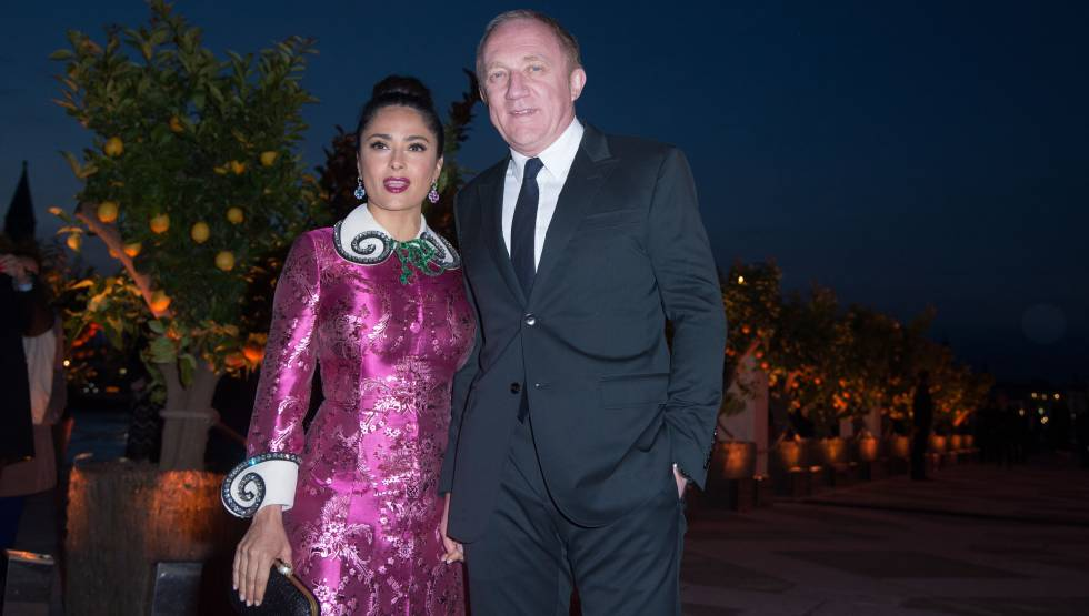 Salma Hayek y su marido Francois Henri Pinault, presidente del grupo del lujo Pinault-Printemps-Redoute.