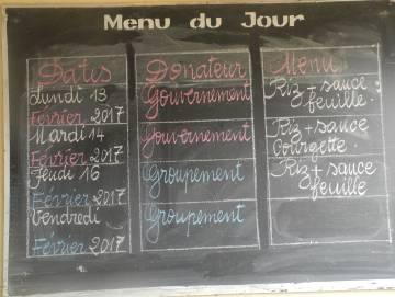 El menú escolar del centro de N'Zikro, en Costa de Marfil.