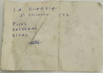 Anotación hallada en el domicilio del coleccionista.