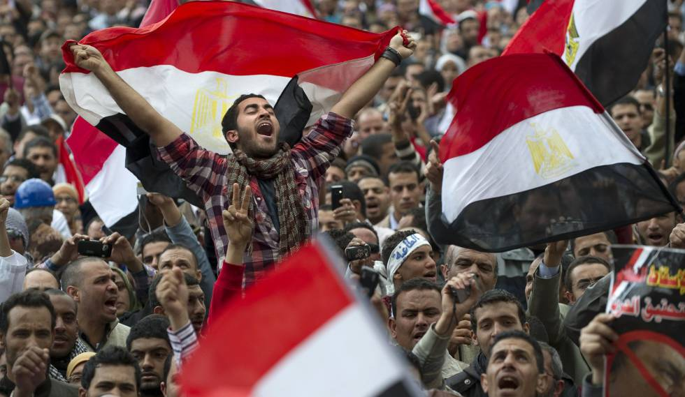 A demonstration in Cairo's Tahrir Square during the Arab Spring in February 2011.