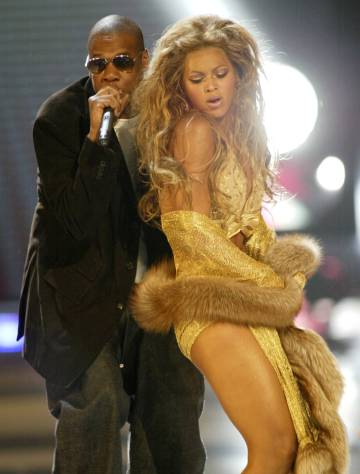 Jay-Z and Beyoncé during her appearance at the MTV Video Music Awards in 2003.