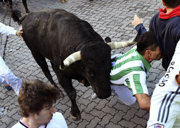A trail of falls on Day 6 of the Running of the Bulls in Pamplona