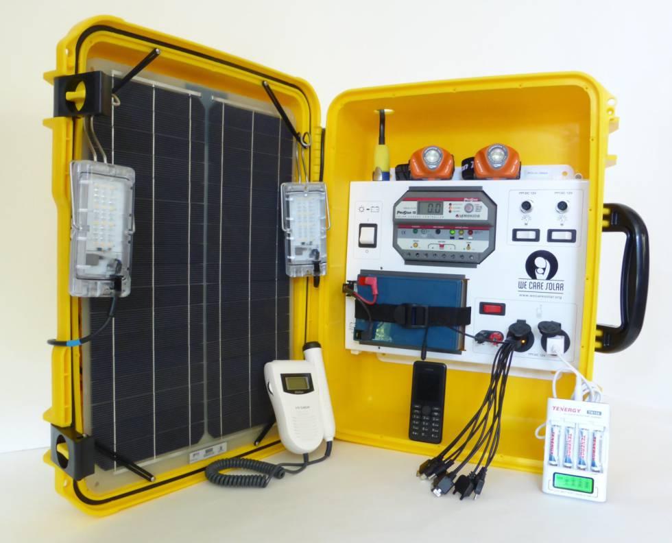 Maleta de energía solar para proveer de luz a clínicas sin acceso a electricidad.