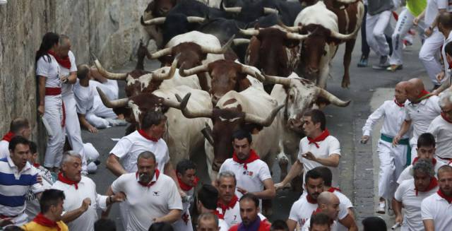 The third Running of the Bulls at Sanfermines 2017.