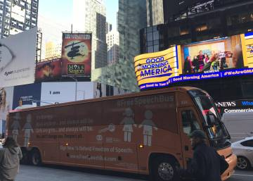Spain's 'transphobic bus' rolls on to the streets of Manhattan