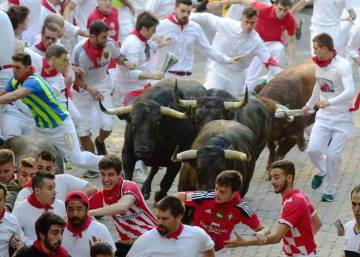 A trail of falls on Day 6 of the Running of the Bulls