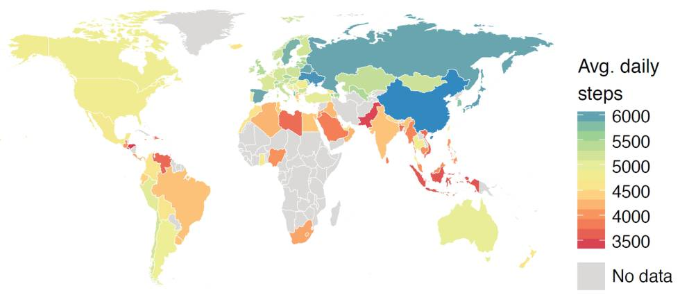 Cuanto más azul, más pasos al día dados. Y, cuanto más rojo, menor actividad registrada por el móvil.