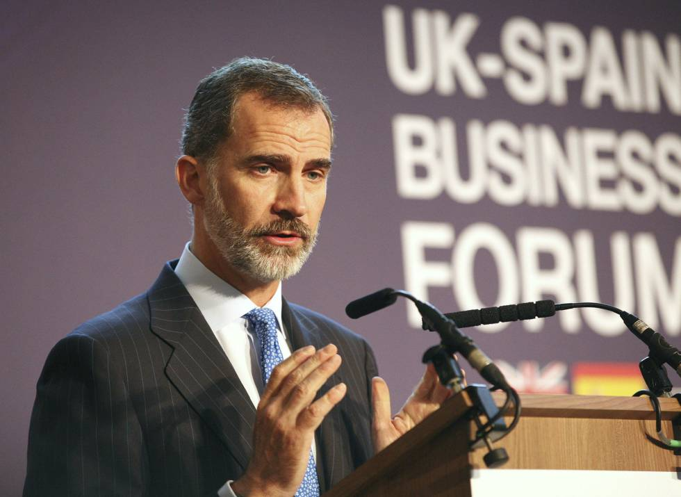 Felipe VI speaking at the UK-Spain Business Forum on Thursday.