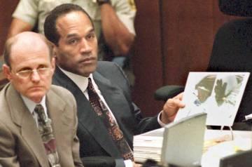 O. J. Simpson, durante el juicio por el doble asesinato en mayo de 1995