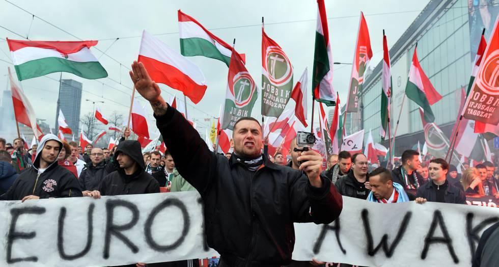 Manifestación del grupo neonazi húngaro Jobbik.
