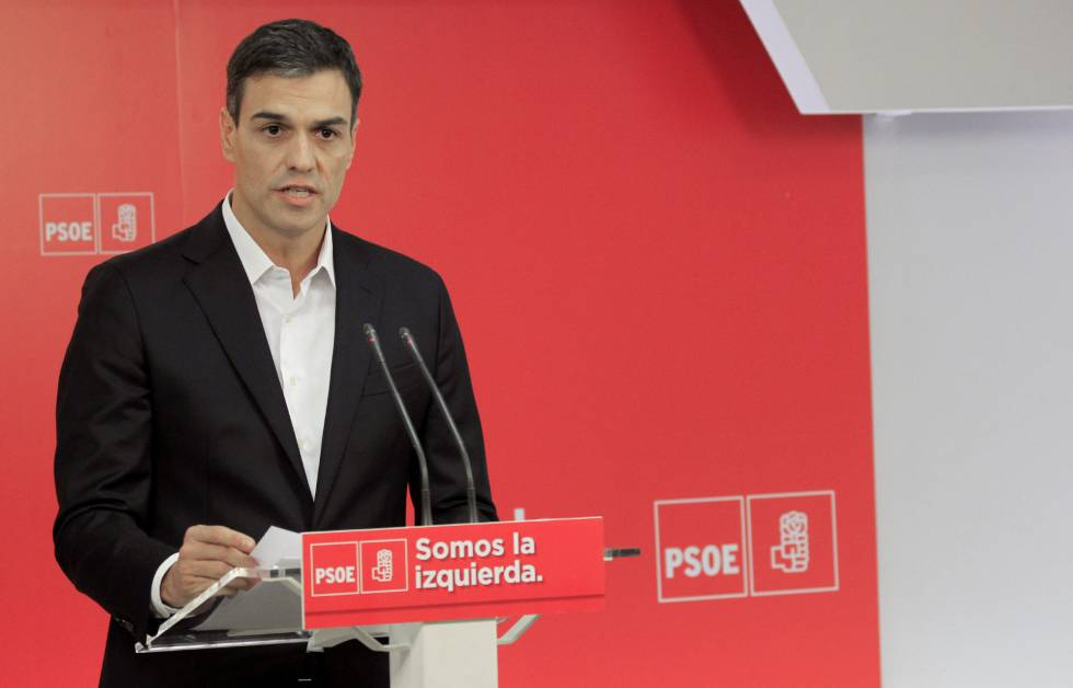 PSOE leader Pedro Sánchez at a press conference on Wednesday.