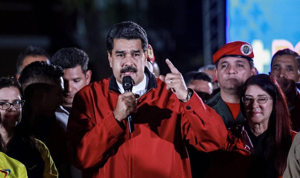 Nicolás Maduro celebra los resultados electorales de las elecciones a la Asamblea Constituyente.