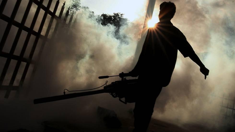 Un trabajador fumiga en los alrededores del lago Ulsoor, en Bangalore.