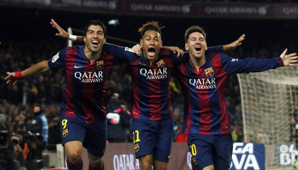 The deadliest attacking trio in soccer history: Luis Suarez, Neymar y Messi celebrate a goal against Atlético Madrid in 2015.