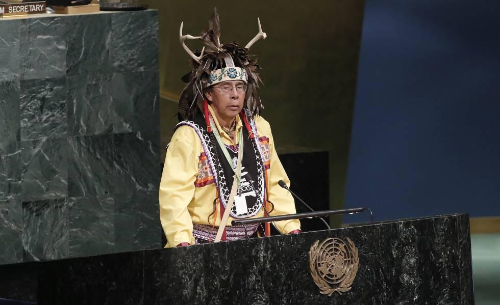 Tadodaho Sid Hill, jefe de la Nación Onondaga, abrió la XVI Sesión del Foro Permanente de las Naciones Unidas para las Cuestiones Indígenas, en abril de 2017.