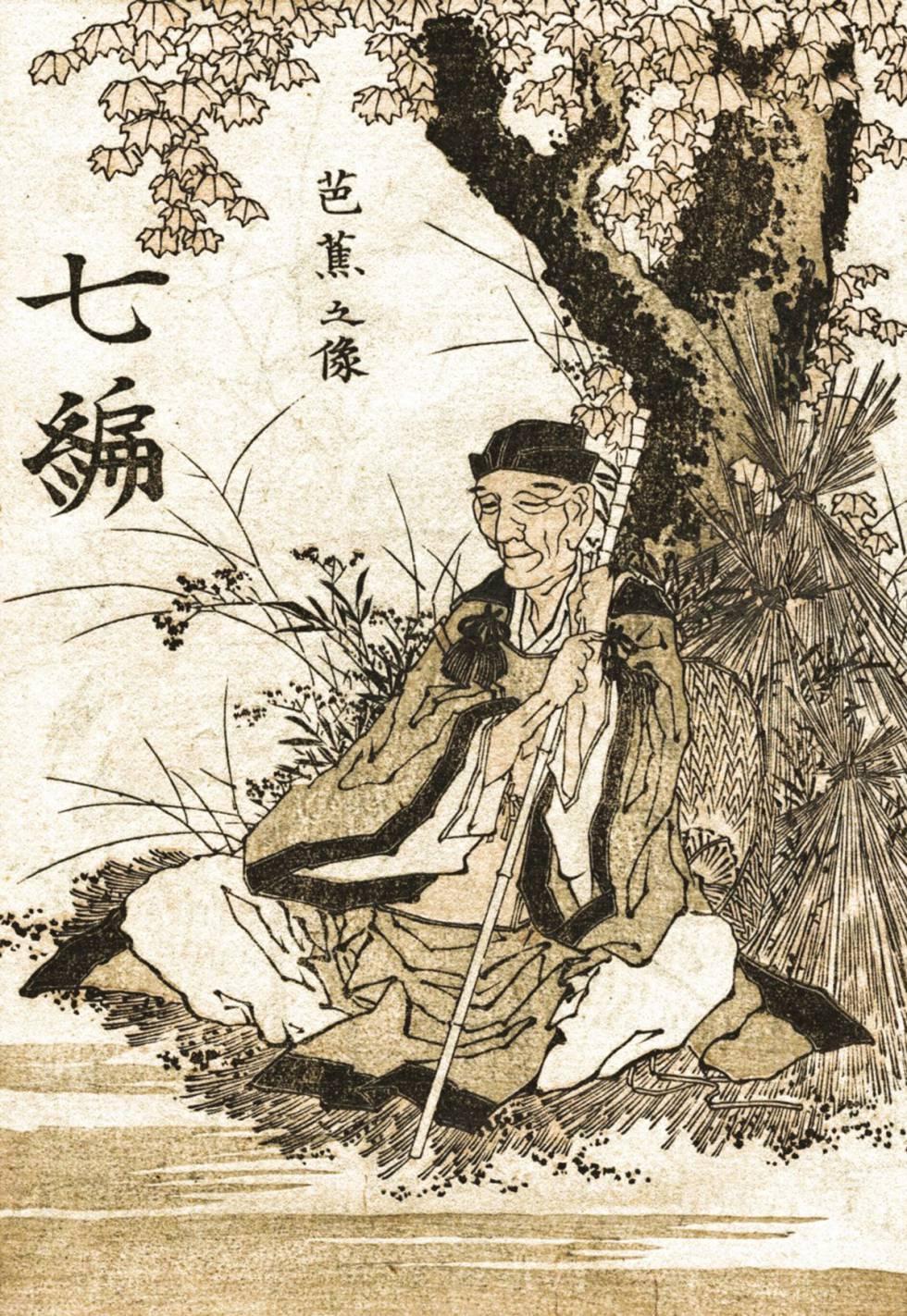 Matsuo Bashō según Katshunika Hokusai, grabador del periodo Edo.