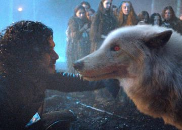 Kit Harington como Jon Snow, con el lobo 'Ghost'.