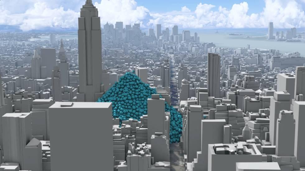 Una hora de emisiones de dioxido de carbono en la ciudad de Nueva York, como esferas de una tonelada.