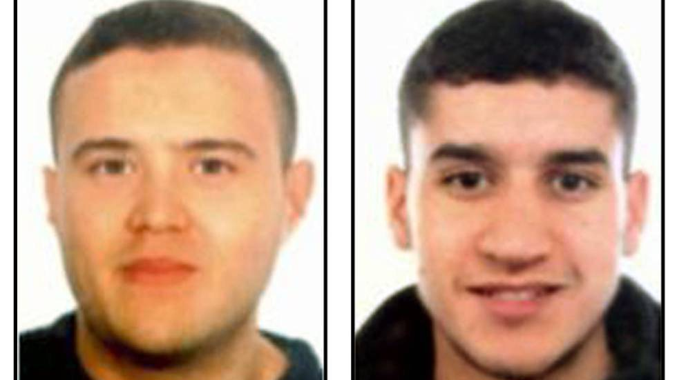 Suspected cell members Mohamed Hychami (left) and Younes Abouyaaqoub.