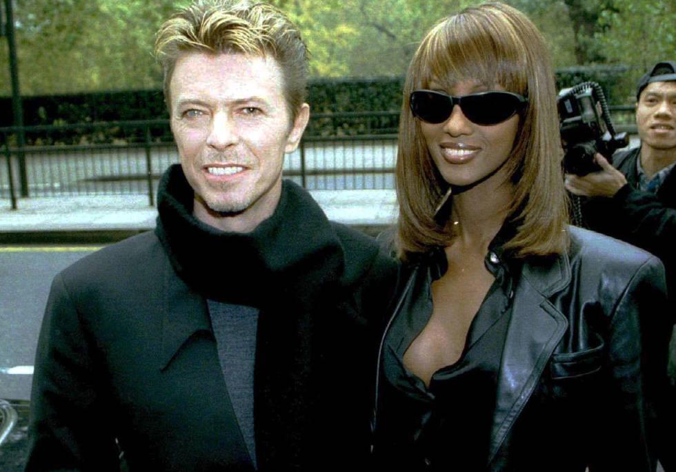 David Bowie y su pareja Iman.