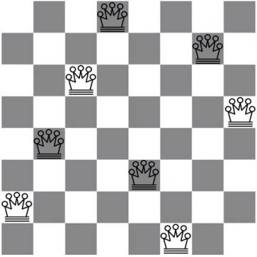Una solución en un tablero de 8x8.